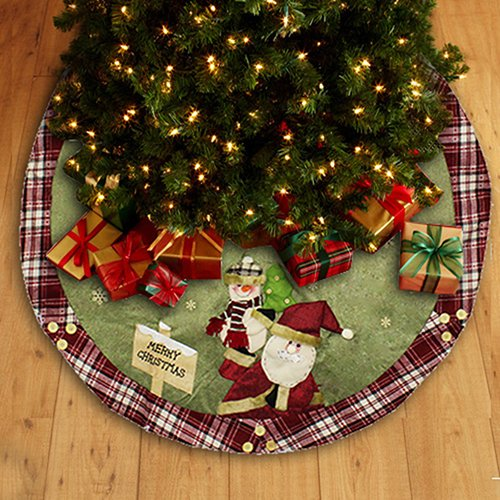 Christmas Tree Skirt Burlap Tree Skirt Under Tree with Santa Clause Design, 47-Inch Round(Christmas Tree Skirt)