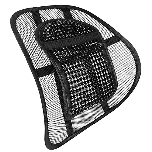 Mantraraj - Air Flow Lumbar Support Cushion for Car Seat or Chair Back Rest Chair Back Support Seat Sit Tight Right with Elasticated Positioning Strap and Mesh Lumbar Grill