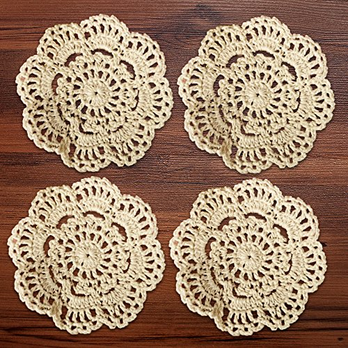Yizunnu Lot de 4 napperons de table faits main au crochet 100 % coton (beige), Coton, beige, 4\