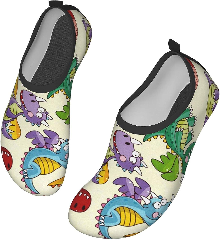 Water Shoes Women's Men's Cartoon Fire Dragon Print Barefoot Qui