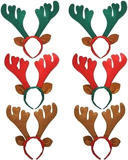 Outgeek Reindeer Headband 6pcs Reindeer Antlers Headband Deer Party Hats for Easter Halloween Christmas Kid's Party (3 Colors)