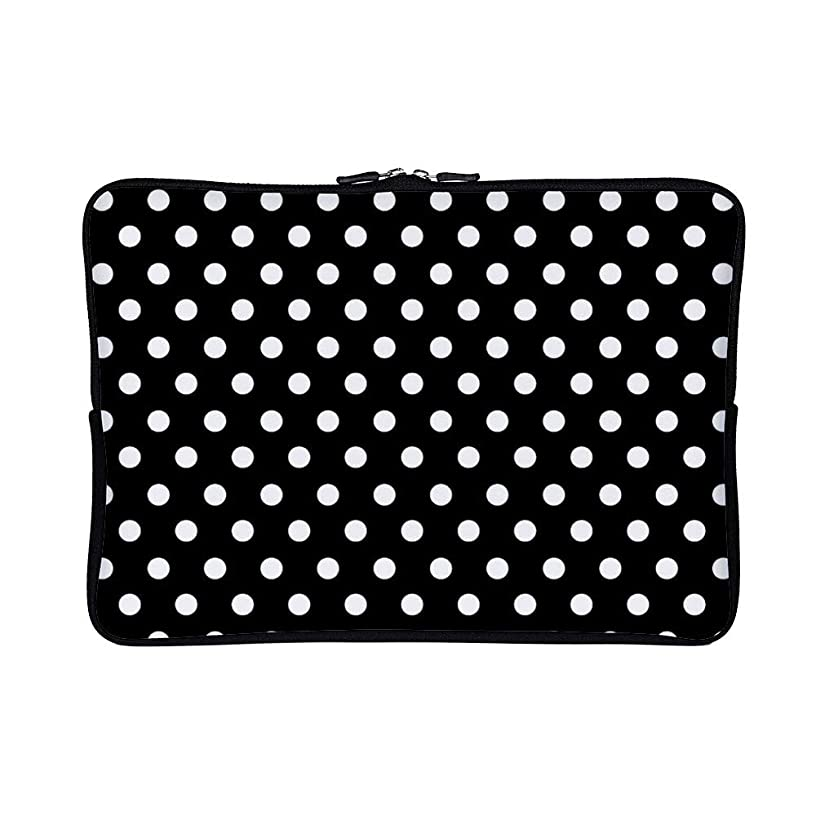 Black Polka Dot 15 Inch Neoprene Laptop Sleeve Case Protective Computer Cover Carrying Bag for 15