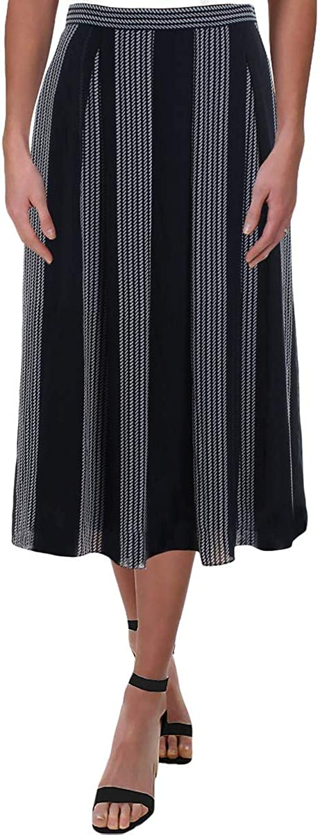 Anne Klein Womens Navy Printed Midi Pleated Skirt Size 0