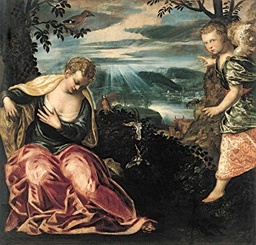 """Jacopo Tintoretto Annunciation to Manoah´s Wife 1555-1559 Museo Thyssen-Bornemisza 24"""" x 23"""" Fine Art Giclee Canvas Print (Unframed) Reproduction"""
