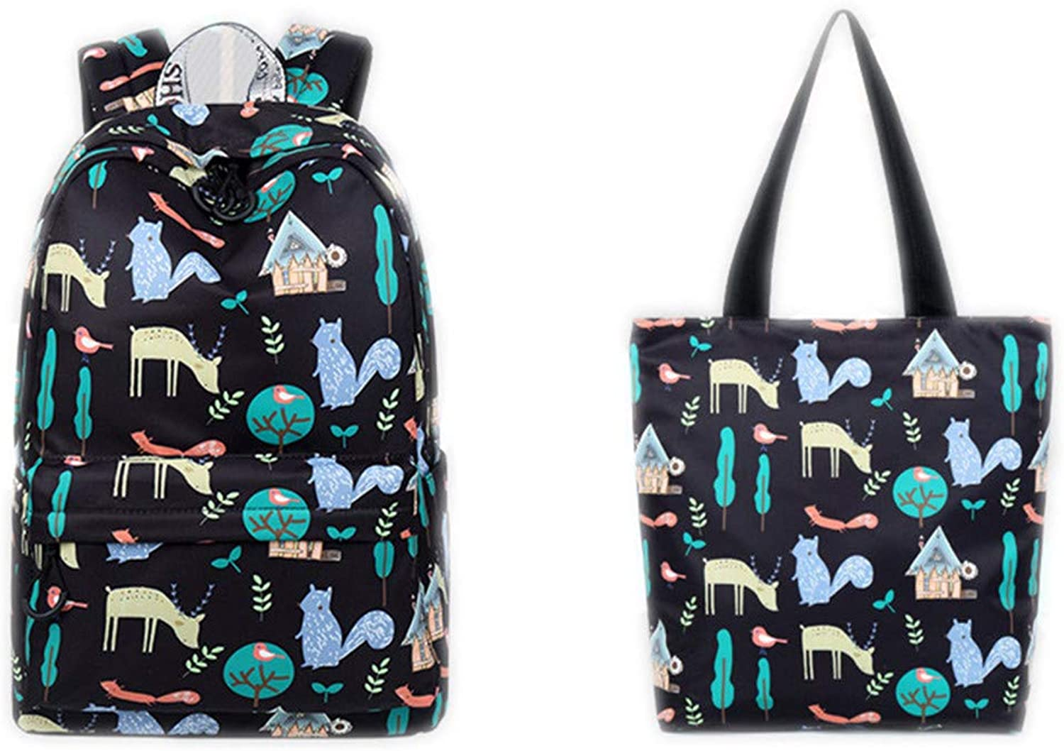 Youth Waterproof Women Backpack Cute Animal Squirrel Pattern Printing Large Capacity Girls Daily College Laptop Rucksack Black Set 14 inches