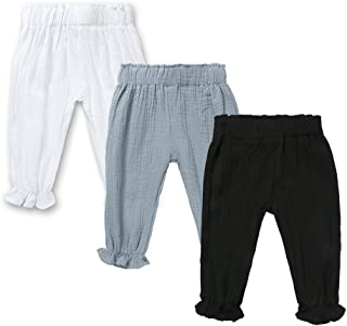 Mary ye Baby Boys Girls 3 Pack Cotton Linen Trousers Kids Anti-Mosquito Casual Pants