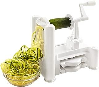 Kinzi Spiral-07 Sp Tri-Blade Vegetable and Fruit Spiral Slicer Chopper, Veggie Pasta Spaghetti Maker, 1, White