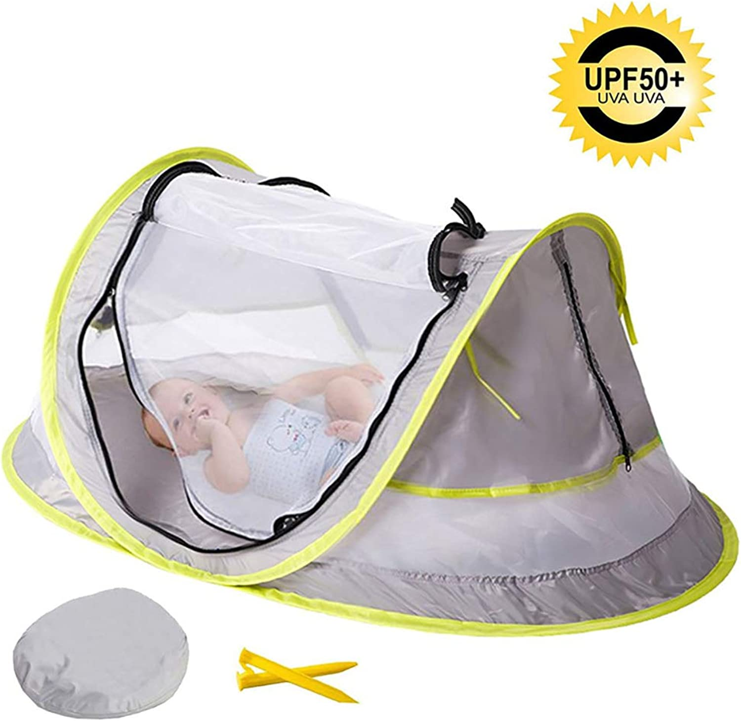 Baby Beach Tent, Portable Infant Pop Up UV Sun Predection Tent with Storage Bag, Breathable Travel Mosquito Net Bed with Mesh Windows and 2 Pegs