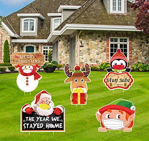 luck sea 5PCS Christmas Quarantine Yard Stakes Signs Decorations - Xmas Outdoor Lawn Winter Wonderland Holiday Party Decor