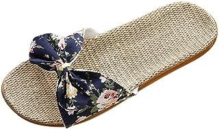 Casual Open Toe Slippers for Women, Huazi2 Bowknot Flax Linen Flip Flops Beach Shoes Sandals