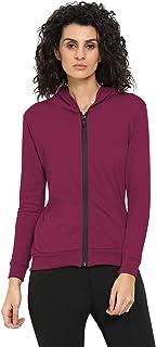 CHKOKKO Poly Cotton Sports Zipper Full Sleeve Gym Hooded Sweatshirt Summer Hoodies for Women