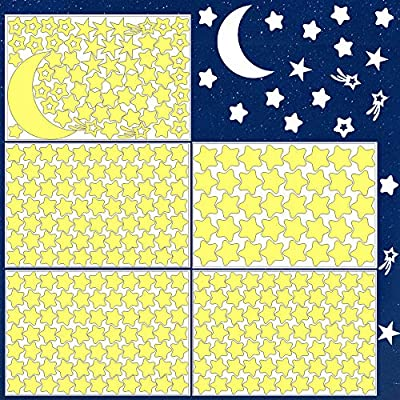 Sovob Wall Stickers-Glowing Stars for Ceiling and Wall,3D Glow in The Dark Stars and Moon,Stickers for Kids Bedroom Living Room or Birthday Gift(358pcs+1Moon)