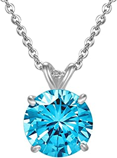 Sterling Silver Birthstone Necklace 6mm (0.85 Carat) Created Diamond or Gemstone Jewelry Women Gilrs Anniversary Birthday Mother's Gifts