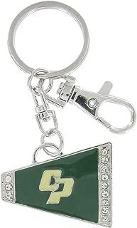 Cal Poly San Luis Obispo Megaphone Rhinestone Key Chain - Ivory and Dark Green Enamel