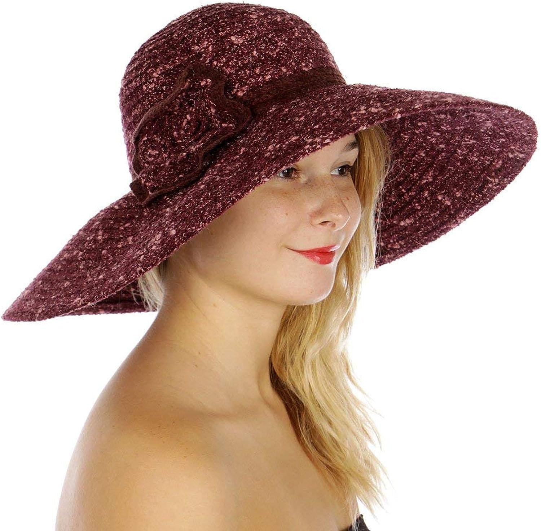 0e7190dd66f6a3 Fashion2100 Fashion2100 Fashion2100 Corsage Woven Floppy hat Burgundy b4fe26