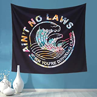MG MRAGO AINT NO LAWS WHEN YOURE DRINKING Claws Funny Tapestry Boutique Tapestry Wall Hanging Tapestry Micro Fiber Peach Home Decor (SIZE:59.1X51.2 in)