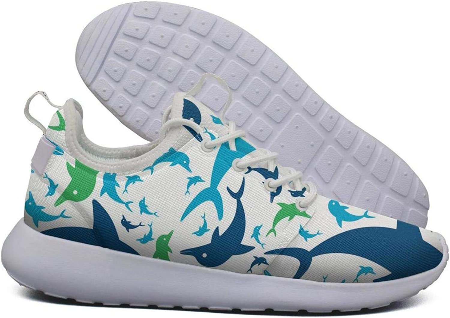 Hoohle Sports Womens Dolphin Swim Happy Flex Mesh Roshe 2 Lightweight Soft Fashion Sneakers shoes