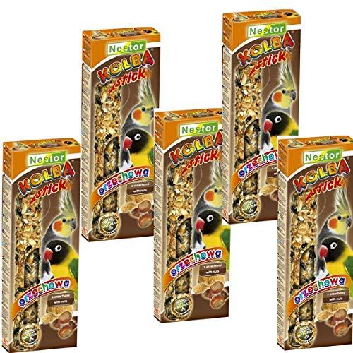 5X je 2 Stück Knabberstangen Kräcker Stick für Papageien und Großsittiche Futtermischung mit Nüssen