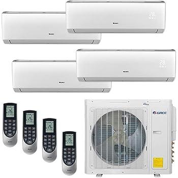Amazon Com Gree Multi30cvir402 30 000 Btu Multi21 Quad Zone Wall Mount Mini Split Air Conditioner Heat Pump 208 230v 9 9 12 12 Home Kitchen