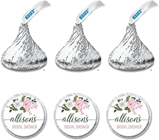 216 Personalized Bridal Shower Candy Kiss Stickers - Rose Themed Party Favor Stickers - Perfectly Fits Hershey Kiss Candies (HK104)