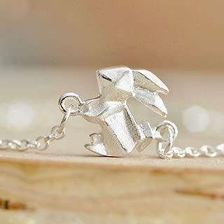 Origami Bunny Rabbit Charm Bracelet in Sterling Silver 925