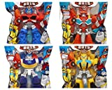 "Playskool Heroes 4"" G1 Transformers Rescue Bots Grab-Pack Limited Edition Action Figures – Bumblebee, Chase Police-Bot, Heatwave Fire-Bot, and Optimus Prime – SET of 4"
