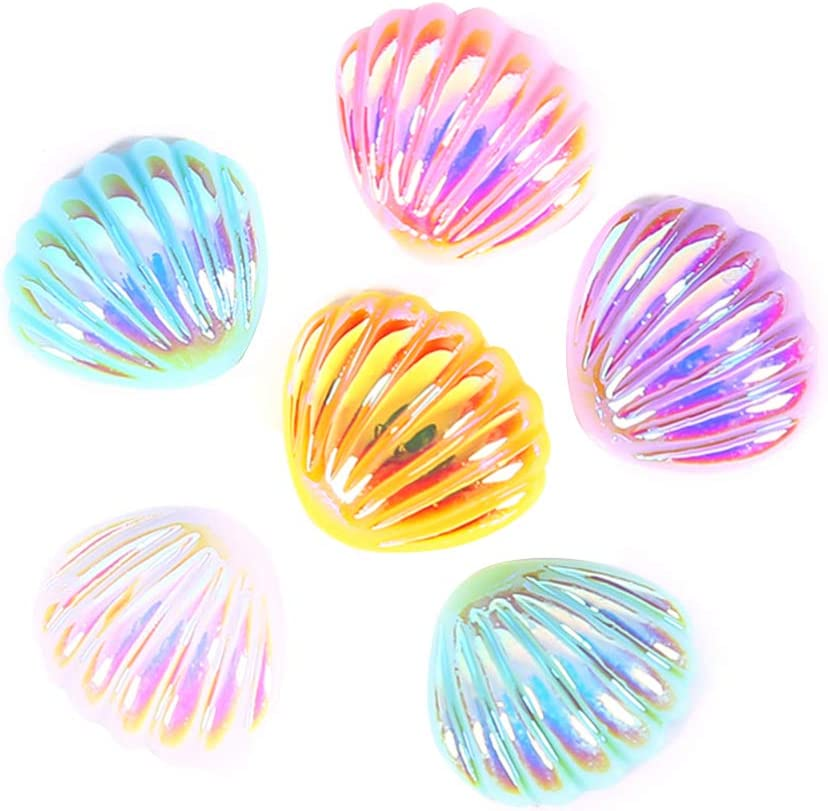 EXCEART 30pcs Resin Washington Mall Flat Back Pearl Shell Clay Seashell Polymer Outlet ☆ Free Shipping