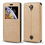 Acer Liquid Z330 Case, Wood Grain Leather Case with Card
