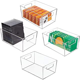 mDesign Rectangular Plastic Office Supplies Storage Organizer Bin with Carrying Handles for Paper Pads, Pens, Pencils, Dry Erase Markers, Highlighters, Sticky Notes, Mailing Labels - Small Pack of 4 Clear