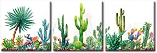 Cactus Pictures Decor - 3 Piece Canvas Wall Art for Living Room Bathroom Bedroom Home Kitchen Artwork - Modern Green Plant Flowers Painting Decorations Family Picture Framed Ready to Hang