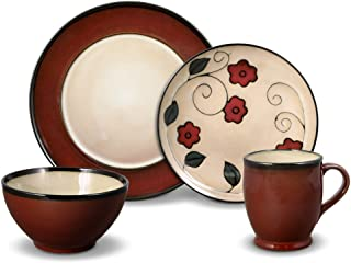 Gourmet Basics Belmont Round Red Leaves 32 Piece Dinnerware Set, Service for 8