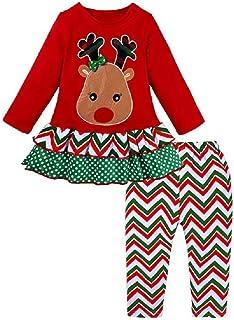 Hooyi Traje de Navidad para Niñas Pijamas de Reno Santo Papá Noel Blusa Roja con Pantalón a Rayas