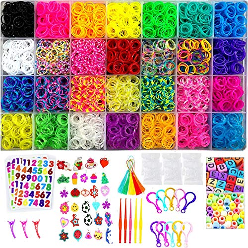HOMKARE Loom Bands 11900+ Rainbow Rubber Bands Refill Kit: Over 11000 Loom Bands in 28 Colors DIY Loom Bracelet Making Kits with Accessories for Kids
