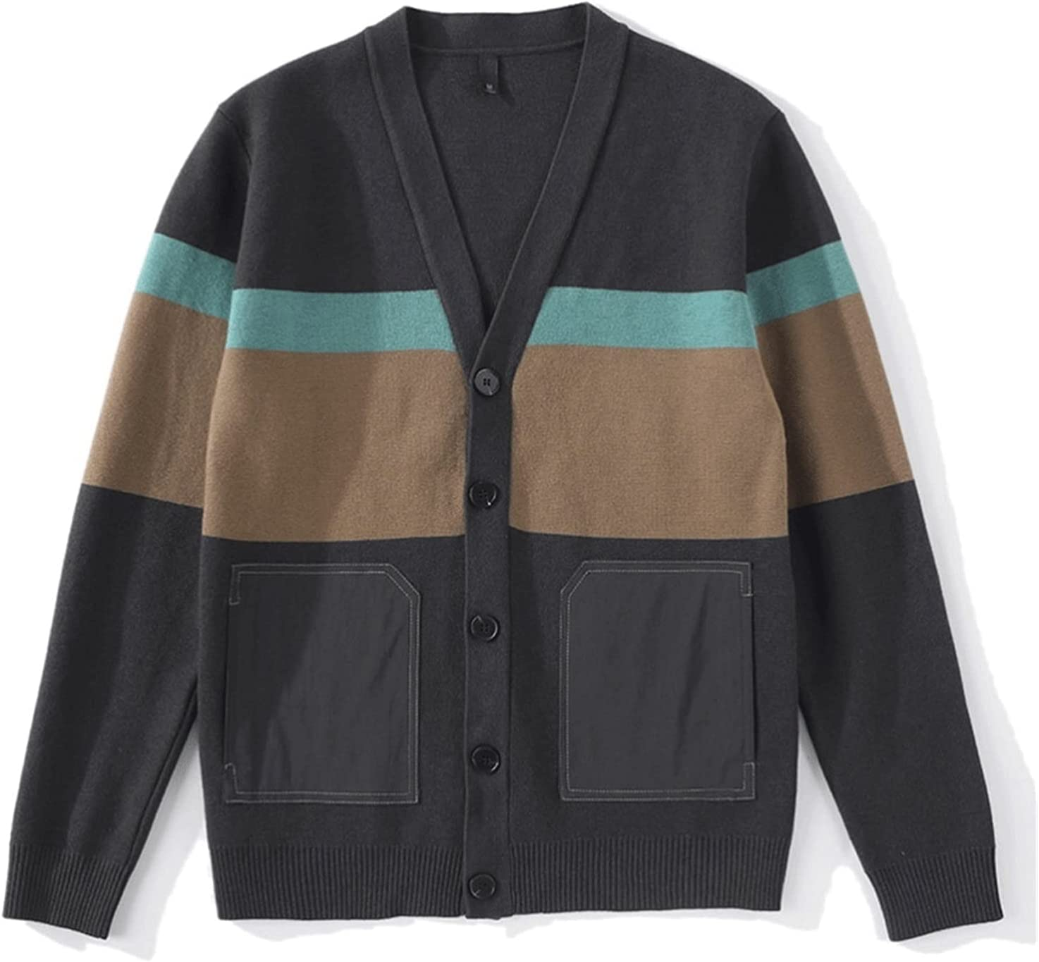 LSDJGDDE Autumn Men Casual Cardigan Sweater Striped Pockets Knit Outwear Sweater Men (Color : Gray, Size : XXL Code)