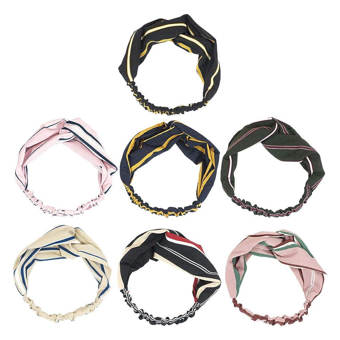 カニ欲望煙突7pcsヘッドバンドクロスノットちょう結び甘いストライプヘアバンド女性のためのヘアアクセサリーGirls(Ming Blue + Pink + Skin Color + Black + Black Red Stripe + Atrovirens + Flesh Pink)