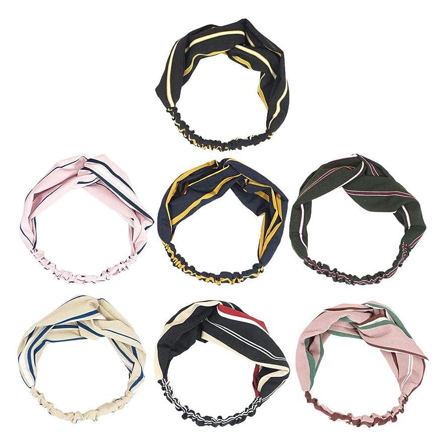 ホイップシンプトン医療の7pcsヘッドバンドクロスノットちょう結び甘いストライプヘアバンド女性のためのヘアアクセサリーGirls(Ming Blue + Pink + Skin Color + Black + Black Red Stripe + Atrovirens + Flesh Pink)