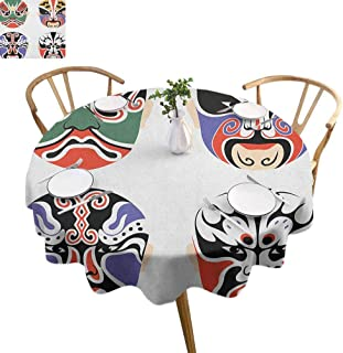 ScottDecor Kabuki Mask Dinning Tabletop Decoration Traditional Chinese Cultural Opera Mask Set Collection Tribal Art Theme Print Round Tablecloth Multicolor Diameter 54