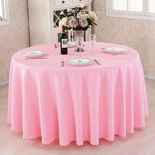 JIANFEI Runde Tischdecke Weißh und hautfreundlich Leinwandbindung 5 Farben, 10 Grün optional (Farbe   Rosa, Größe   2.8m)