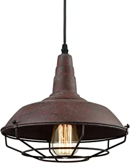 Dazhuan Industrial Nautical Barn Metal Wire Caged Pendant Light Fixture Ceiling Pendant Lamp, Iron Cage Shade in Rust Finish