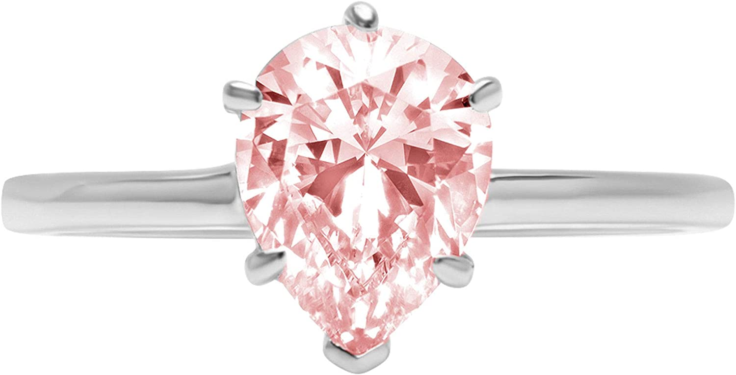 0.9ct Brilliant Pear Cut Solitaire Pink Simulated Diamond Cubic Zirconia Ideal VVS1 D 6-Prong Engagement Wedding Bridal Promise Anniversary Ring Solid 14k White Gold for Women