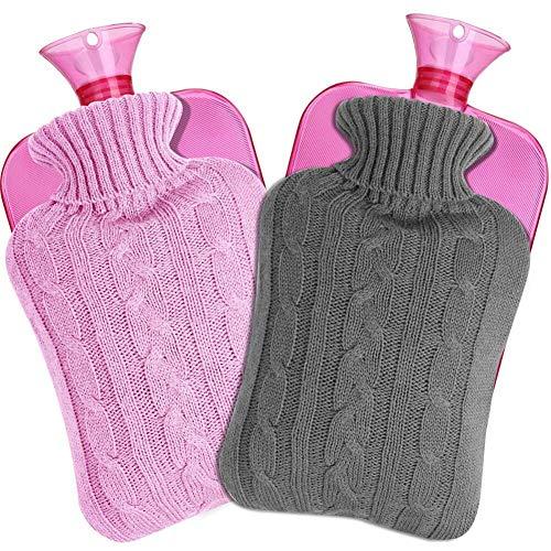 Wärmflasche mit Bezug, SaponinTree Bettflasche 2 Stück, Abnehmbare und Waschbare Wärmflasche mit Gestrickter Abdeckung - 2 Liter (Grau und Rosa)