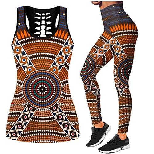 Leggings Damen Hose Frauen Druck Fitness Set Kleidung Sportswear Frau Gym Leggings Gepolstert Push-Up Riemchen Sport Weste Hohl 2 Stück Sportanzüge XXL D.