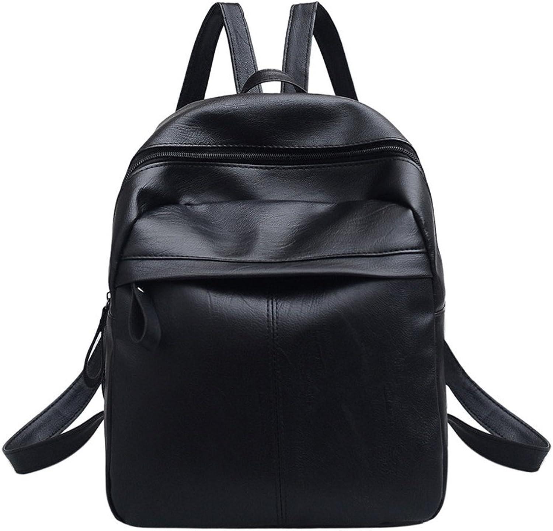 ASHIJIN Womens, Solid, Soft Handle Zipper Backpack, Black Backpack School Travel Bag