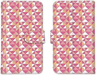 AQUOS ZETA SH-01H ミラー スマホケース 手帳型 SHARP シャープ アクオス ゼータ 【D.ピンク】 幾何学模様 best_vc-474