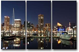 So Crazy Art 3 Pieces Wall Art Painting Baltimore Harbor at Night Prints On Canvas The Picture City Pictures Oil for Home Modern Decoration Print Decor for Boys Bedroom