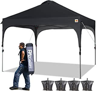 ABCCANOPY Canopy Tent 10x10 Pop Up Canopy Instant Tents Outdoor Canopies Popup Beach Canopy Shade Canopy Tent with Wheeled Carry Bag Bonus 4 Weight Bags, 4 x Ropes& 4 x Stakes, Black