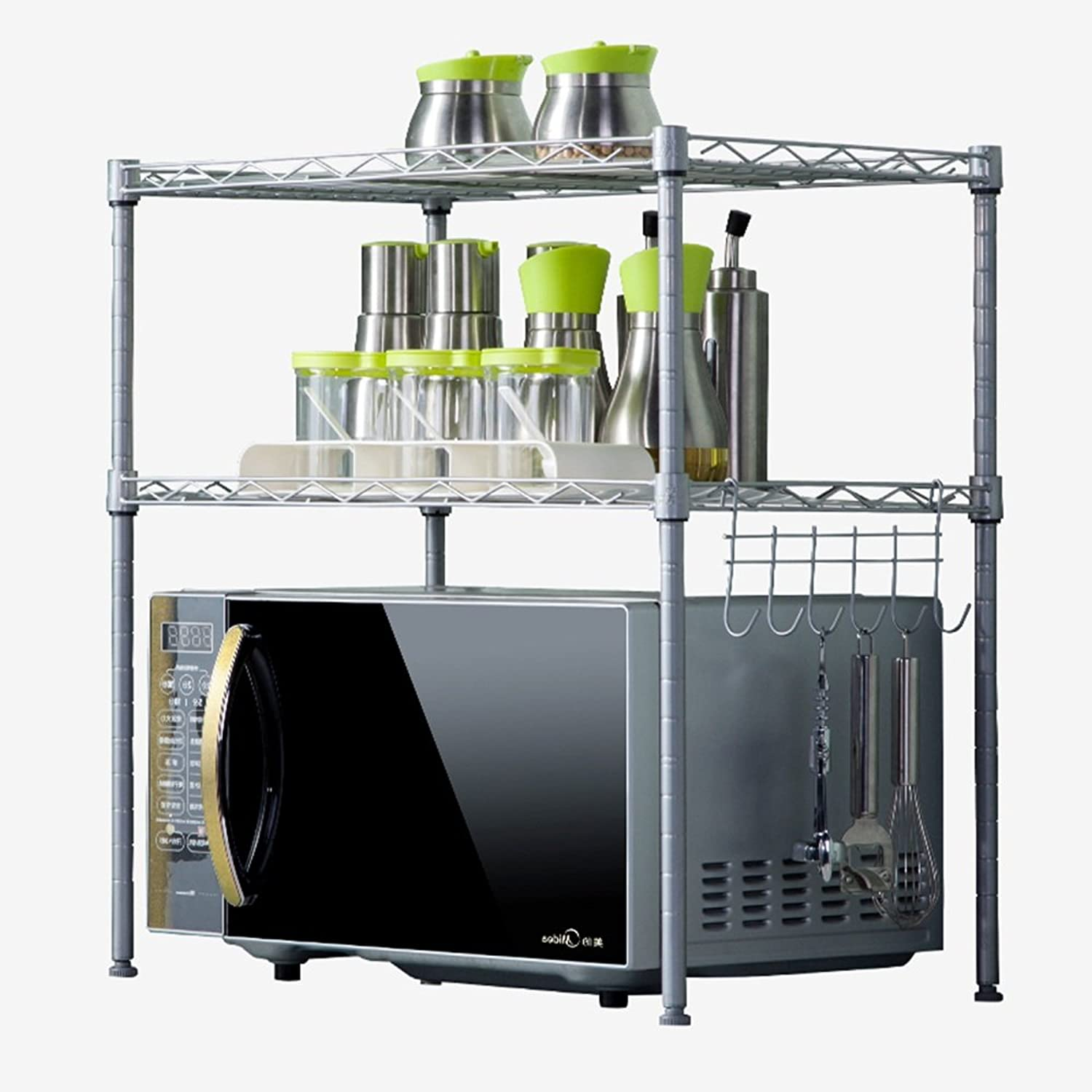 PeaceipUS Household Shelves, Metal Kitchen Living Room Seasoning Storage Oven Microwave Oven Shelf, 54  34  58cm (color   Silver)