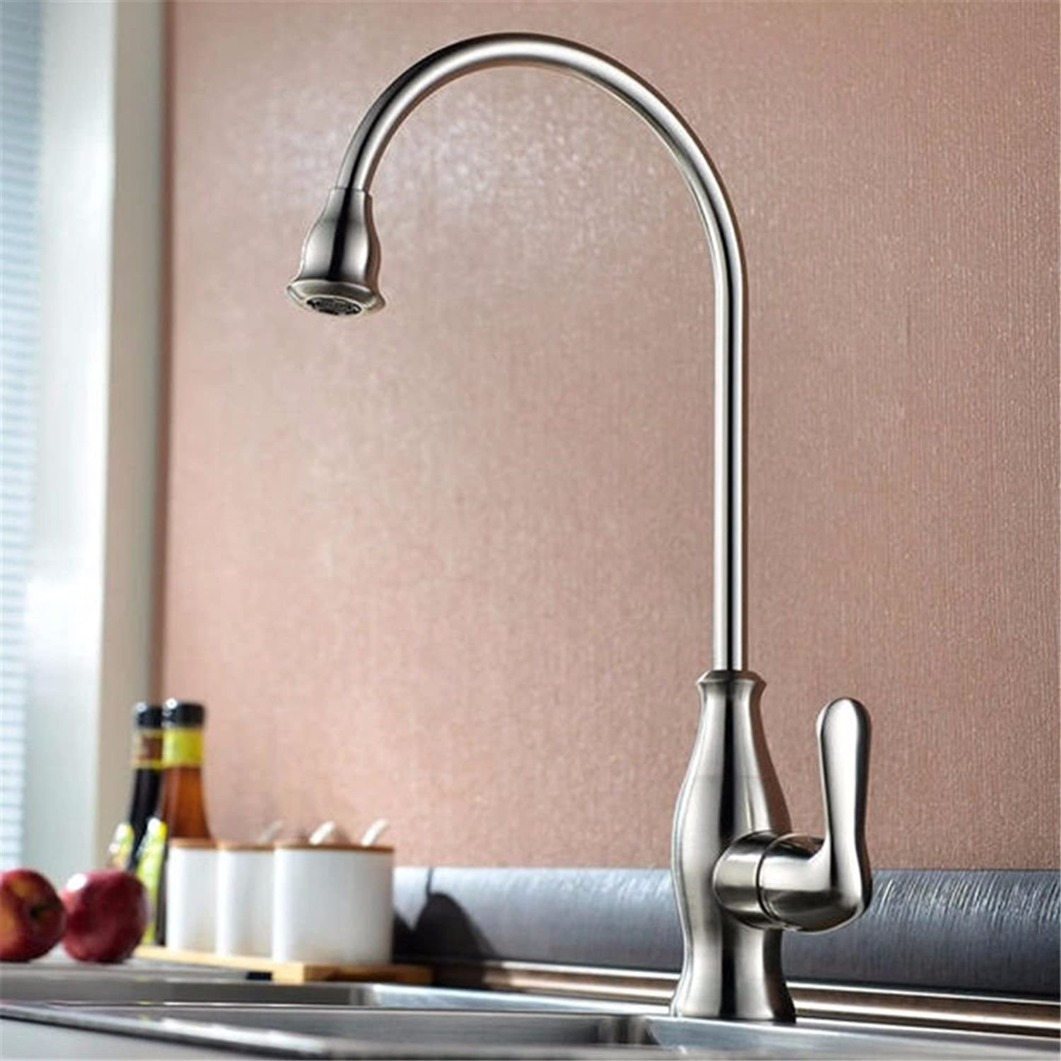 Lalaky Taps Faucet Kitchen Mixer Sink Waterfall Bathroom Mixer Basin Mixer Tap for Kitchen Bathroom and Washroom Hot and Cold All Copper redating Wire Drawing