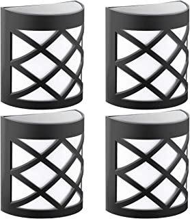 GIGALUMI Pack of 4 Solar Fence Lights, 6 LEDs Per Light, Waterproof Solar Wall Lights for Outdoor Deck, Patio, Stair, Yard, Path and Driveway. (White)