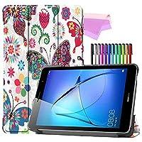 Billionn Huawei MatePad T8(kobe2-L03 / KOB2-L09)タブレット用フォリオ3つ折りスタンドスマートケース[超薄型] [超軽量]、色とりどりの蝶